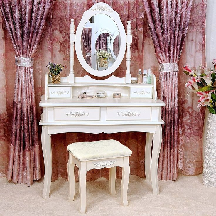 Tribesigns Makeup Vanity Table Set Bedroom Dressing Table with Stool and Mirror (1 Mirror + 4 Drawer)