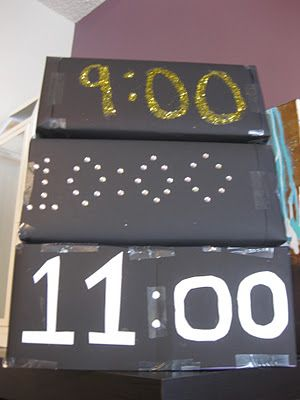 Make a box for each hour to entertain the guests! The different boxes have different games in it and the last one has confetti, party hats, and noise makers to celebrate at midnight.