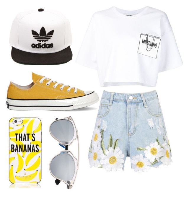 """Untitled #4"" by ralucapopa-1 on Polyvore featuring WithChic, Moschino, Converse, Kate Spade and adidas"