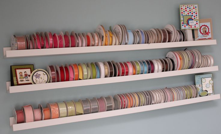 Ribba Picture Ledge from Ikea...great for ribbon storage.