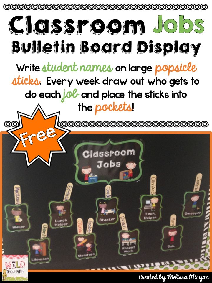 FREE Classroom Jobs Bulletin Board Display. Head on over to TPT to download it now! Just print, laminate, cut and staple to your bulletin board for a FUN way to organize classroom jobs. #wildaboutfifthgrade