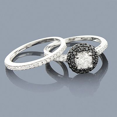 Black and white engagement ring will look beautiful with the contrast of black and white diamond alloy.