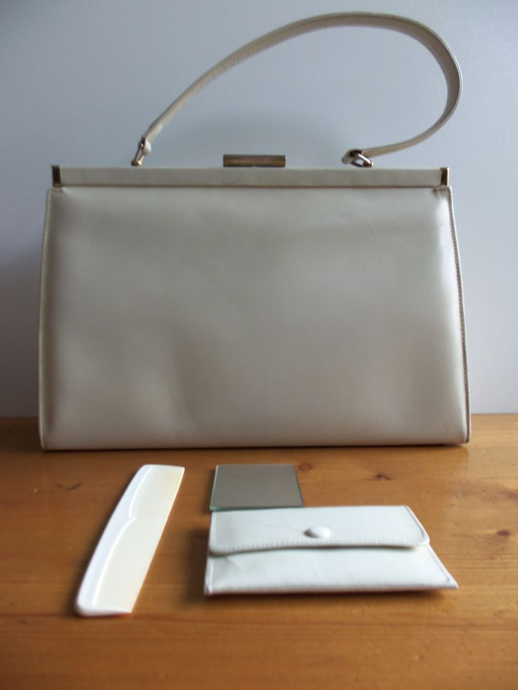 vintage patent leather purse including comb mirror and  billfold from the 1940