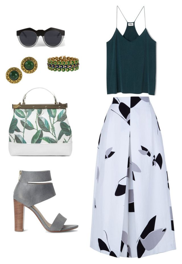 """Green, gray, white"" by yourownart ❤ liked on Polyvore featuring TIBI, Splendid, Chanel and Le Specs"