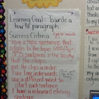 Writing a paragraph success criteria