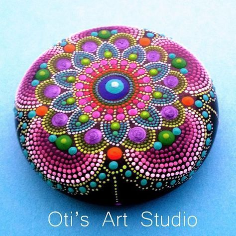 Mandala Stone MAUVE MANDALA-Hand Painted