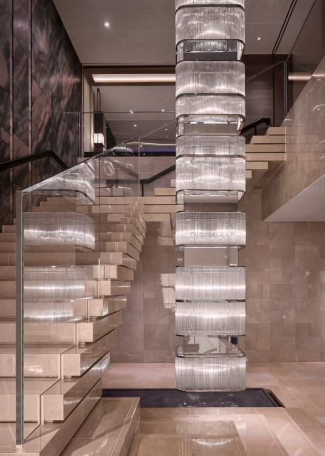 Staircase to wedding chapel at the Four Seasons Kyoto by HBA Design