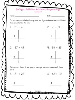 two digit addition without regrouping assessment math ideas math addition 2nd grade math. Black Bedroom Furniture Sets. Home Design Ideas