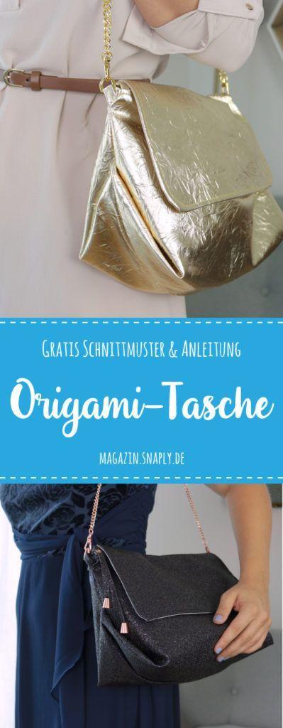 Handtasche nähen – Kostenloses Schnittmuster für eine Origami-Tasche