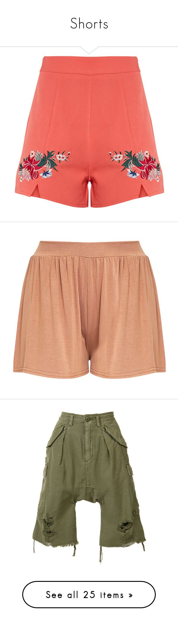 """Shorts"" by christined1960 ❤ liked on Polyvore featuring shorts, floral shorts, floral print shorts, coral shorts, flower print shorts, floral printed shorts, camel shorts, stretch waist shorts, jersey shorts and elastic waist shorts"