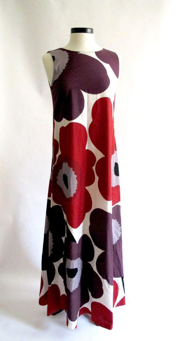 Vintage 1964 Marimekko Unikko Print Maxi Dress by ROAMERVintage