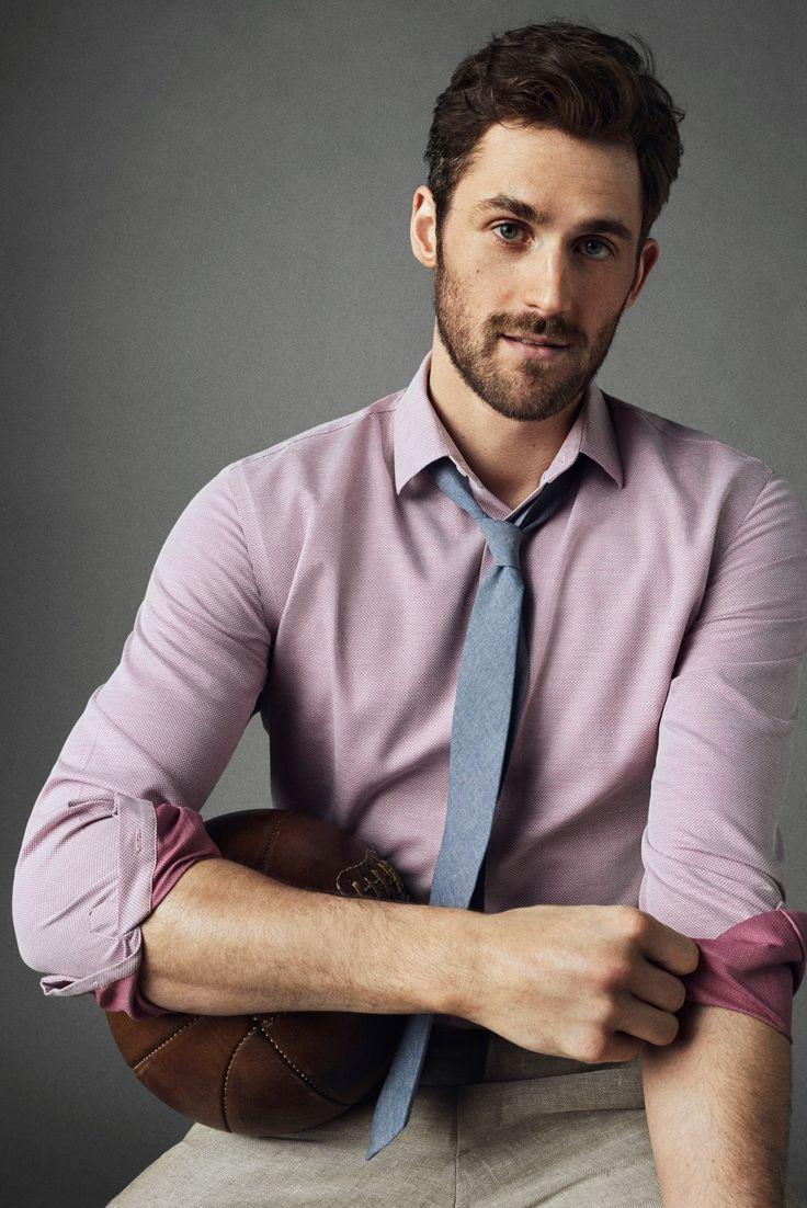 Add a little dash of color to your look with our ultra soft Supima cotton dress shirt. Pair this shirt with a blue tie and linen pants like pro-basketball player Kevin Love   Banana Republic