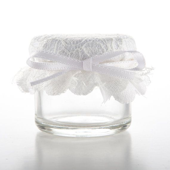 1oz or 1.5oz Mini Jam Jar Wedding Favours with Lace Effect Toppers  WHITE on Etsy, £1.20