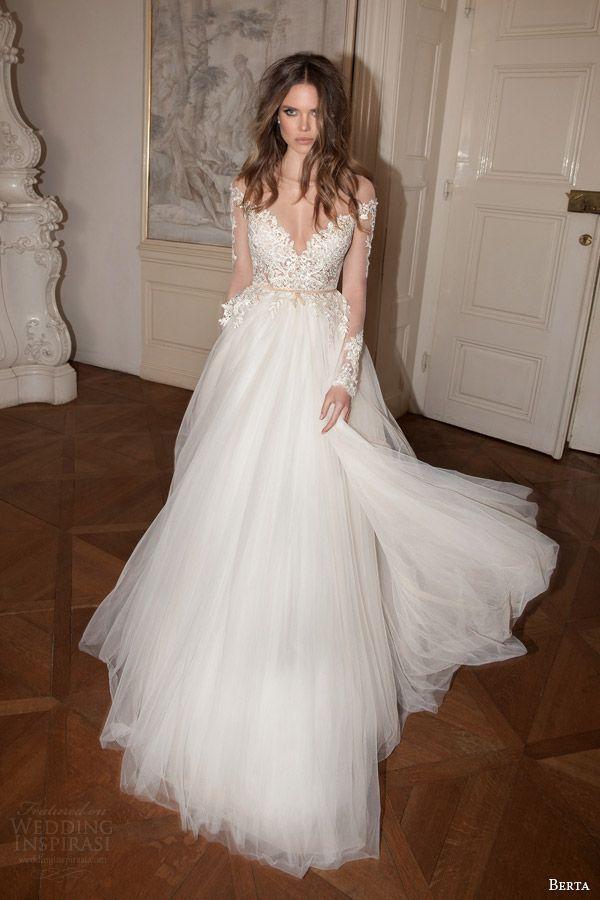 berta bridal fall 2015 illusion long sleeve wedding dress full a line silhouette lace applique bodice