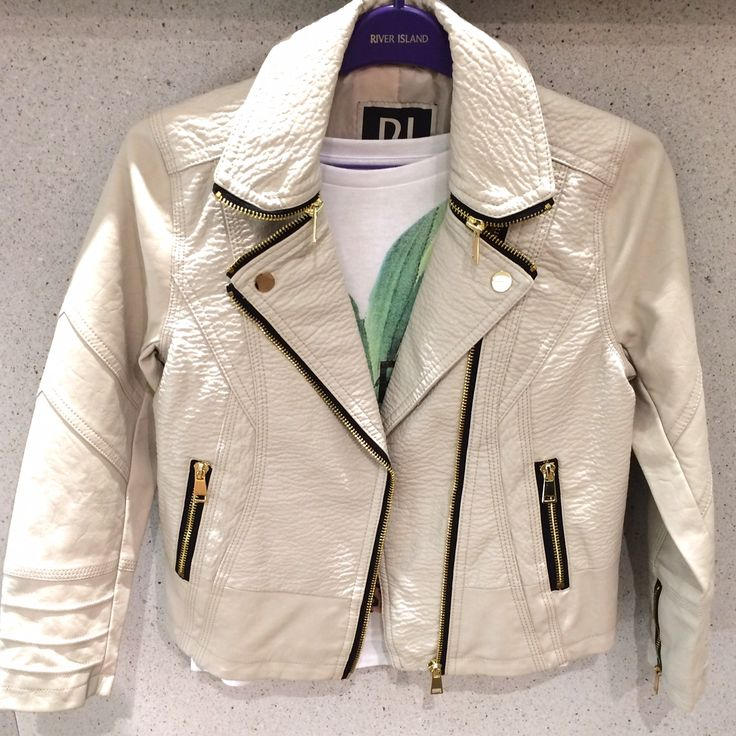 Great mock leather biker jacket for girls from River Island for spring 2015