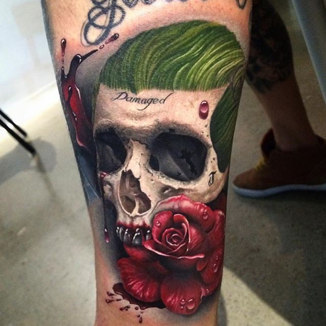 How dope is this tattoo inspired from the SS JOKER SKULL done by the homie…