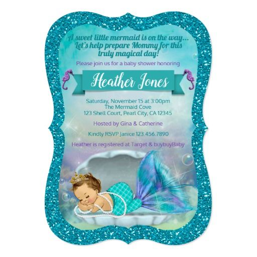 Adorable mermaid baby shower invitations 130 light ocean baby adorable mermaid baby shower invitations 130 light filmwisefo