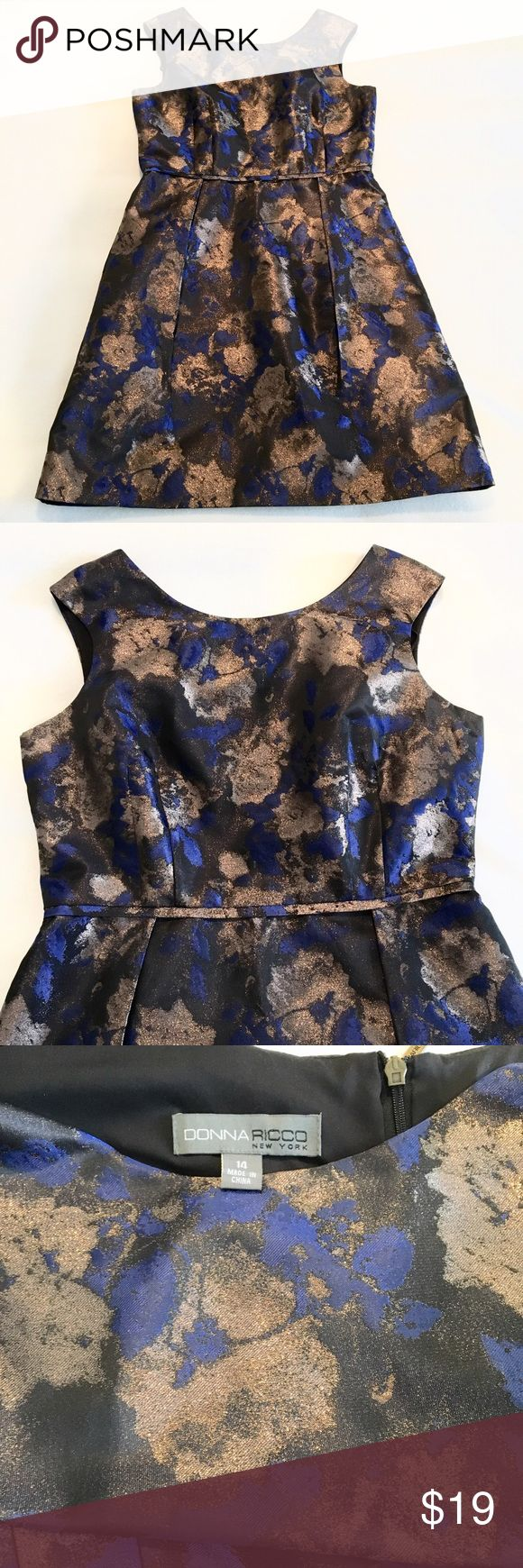 Gold & Blue Floral Dress Blue, black and metallic gold a-line floral dress by Donna Ricco.  Size 14.  Excellent condition! Donna Ricco Dresses Midi