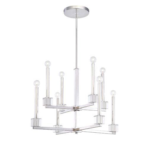 Metropolitan Lighting Chadbourne Polished Nickel Two Tier Eight Light Chandelier On SALE