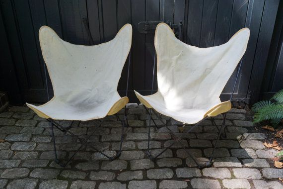 Butterfly Chairs, Vintage Black Metal Folding Outdoor Chairs, Mid-Century, Set…