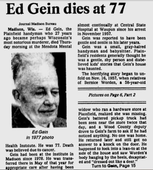 Eddie Gein: Serial Killer & Biography