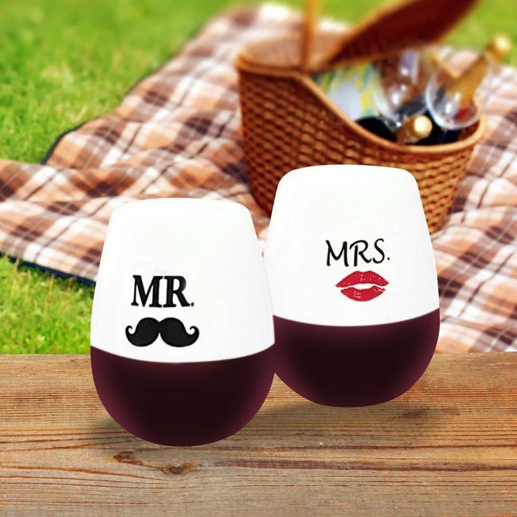 Set of 2 Mr. & Mrs. Unbreakable Stemless Wine Glasses - $17.98