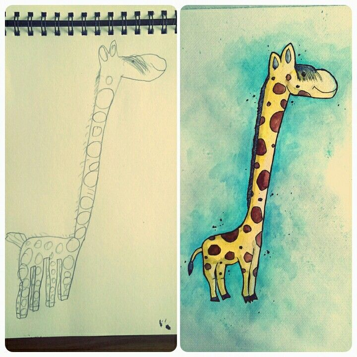 Giraf - Ellas tegning, fars farvelægning. Plakatkunst.