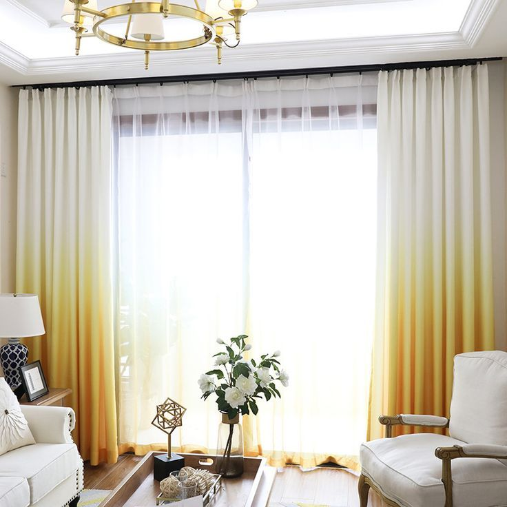 Ombre Dip Dye Mustard Yellow Gradient Curtains For Living Room