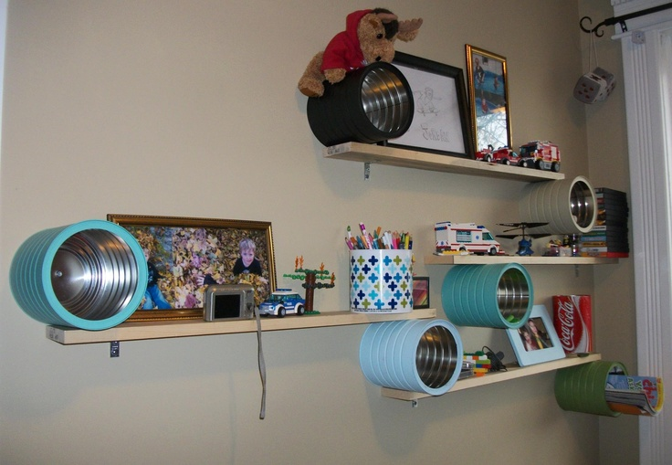Shelves made from recycled coffee cans & wood from shipping pallets!