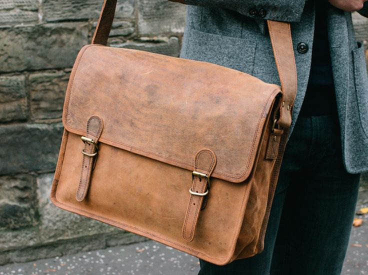 Our large retro satchel bag is a stylish, sturdy, multi-purpose leather bag with a perfectly aged leather exterior, inspired by the classic iconic old brown leather school satchel. #vintage #leatherbag #giftidea