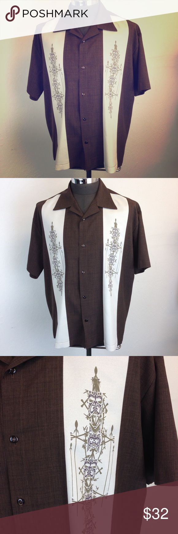 "Steady Last Call Tiki Brown Retro Bowling Shirt Men's cool rockabilly bowling shirt  Brown with tiki idol panels Made in the U.S.A.   Maker: Steady Last Call Fabric:  100% Polyester Listed Size: XL Measurements: Shoulder seam to shoulder seam : 22""  Armpit to armpit:  26"" Sleeve length from Shoulder Seam: 10"" Bottom of the Collar to Hem: 29.5""   Condition:  Very good to excellent  pre-owned worn used but not abused  condition and coming from a non-smoking home. C21 Steady Last Call Shirts…"