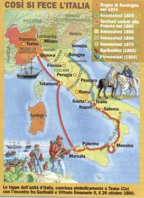 ''Così si fece l'Italia'': le tappe dell'unità d'Italia conclusa simbolicamente a Teano con l'incontro fra Garibaldi e Vittorio Emanuele II, il 26 Ottoble 1860