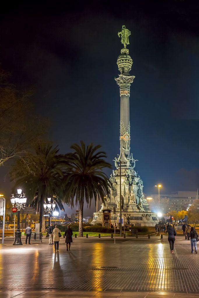La Rambla at Columbus Statue Barcelona Larambla Columbus