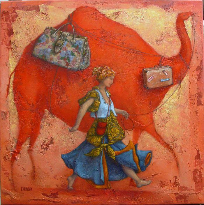 Catherine Chauloux, La reine de Saba voyage - Huile sur toile - 80 x 80 cm