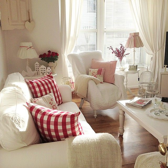 Love The White With Pops Of Red Color In This Living Room