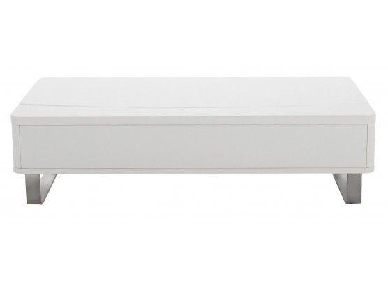 table basse blanc laque avec rangement lyate - Table De Salon Blanc Laque