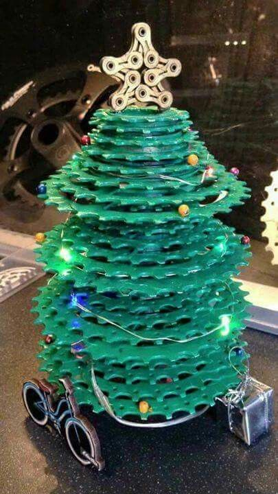 Christmas tree made of chainrings  perfect christmas gift for biker bike rider bicycle