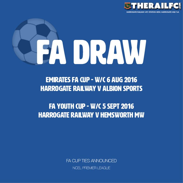 The draw has been made for the Emirates FA Cup...Railway start at home!    @therailfc @NCEL #NCEL #Harrogate