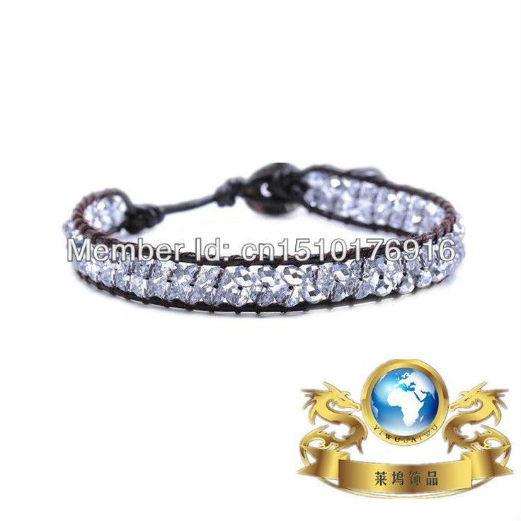Опт и розница кристалл дружба браслет из нержавеющей стали кожаный браслет LA-2137