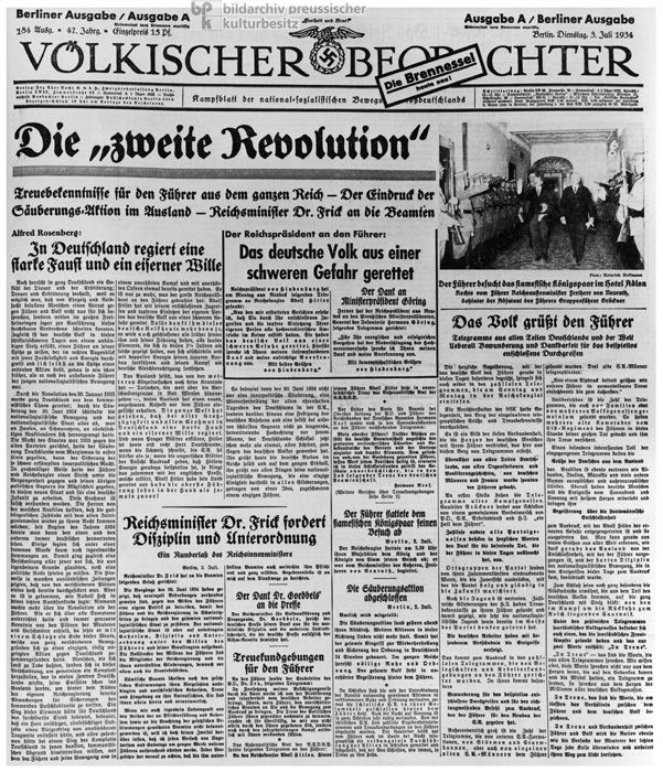 """Even before """"Operation Hummingbird,"""" Hitler saw to it that rumors were spread about a possible coup d'état being planned by the SA. The day after the purge, propaganda minster Joseph Goebbels declared that Ernst Röhm and Kurt von Schleicher had been plotting a """"second revolution,"""" which the Nazis had managed to thwart, thus saving the country from chaos. T"""