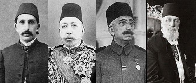 De vier laatste kaliefen vlnr Abdulhamit II ( 1876 -1909 )  Mehmet V ( 1909  - 1918 ) Mehmet VI ( 1918 - 1922 ) Abdulmecit II ( 1922 - 1924  ) De teleurgang van het Ottomaanse rijk en van het laatste kalifaat .