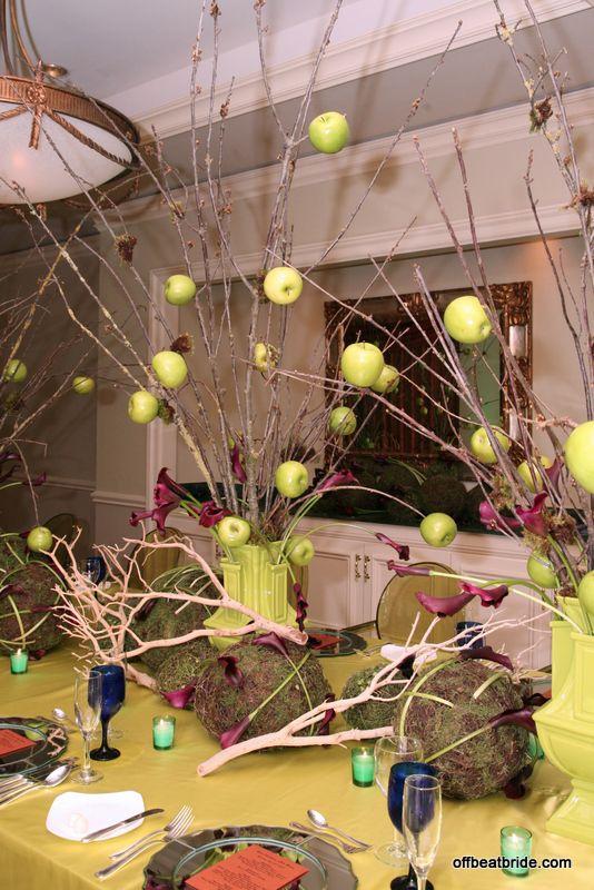 Apples skewered on bare branches + purple calla lilies = tablescape that will haunt your dreams: Apples Skewers, Branches Centerpieces, Calla Lilies, Decoration Idea, Brilliant Idea, Offbeat Bride, Lilies Decoration, Epic Centerpieces, Bare Branches