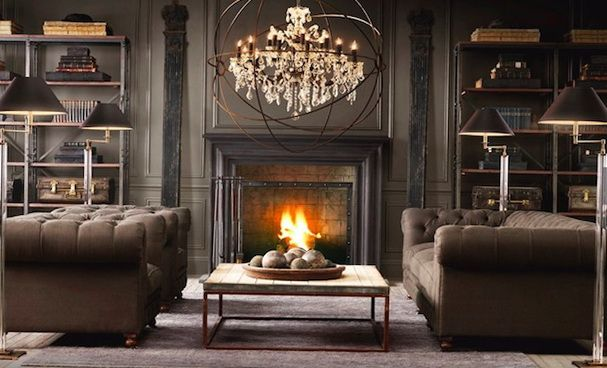 Living Room Fireplace Interior Design Theme Victorian
