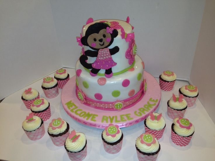 Monkey Baby Shower Cake And Cupcakes All decorations are made out of modeling chocolate. This cake was made to match the baby room theme.