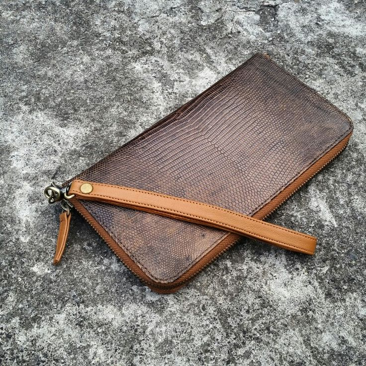 Brown lizard varan wallet handmade style leather