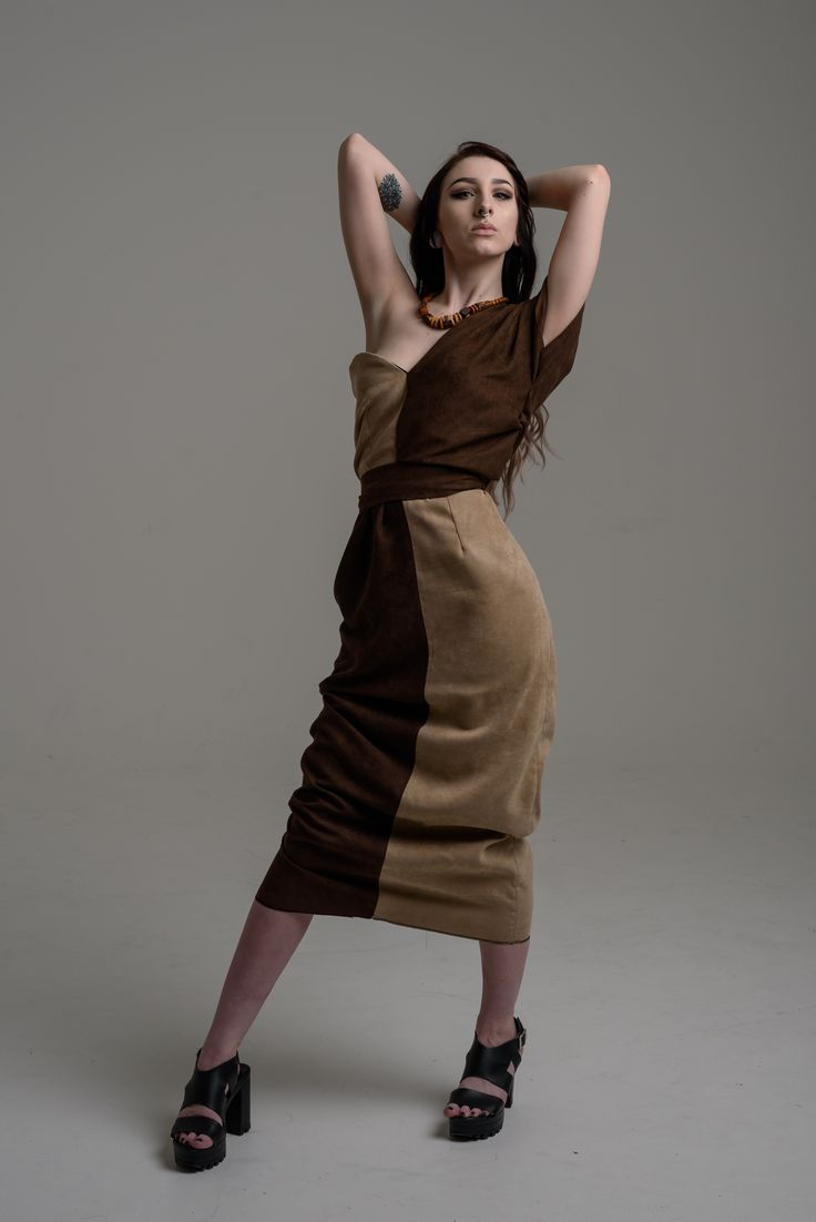 Abstract design Asymmetric dress in suede