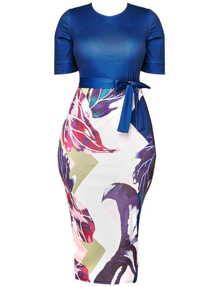 Blue Printing Back Zipper Women's Bodycon Dress