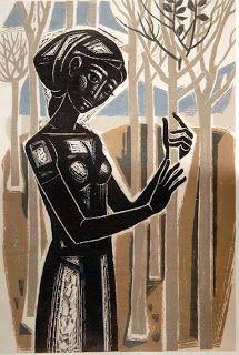 "The girl with the little trees. Woodcut. 1963. Tassos (Tassos Alevizos). Το κορίτσι με τα μικρά δέντρα, 1963, Δημοτική Πινακοθήκη Καλαμάτας ""Α.Τάσσος"""