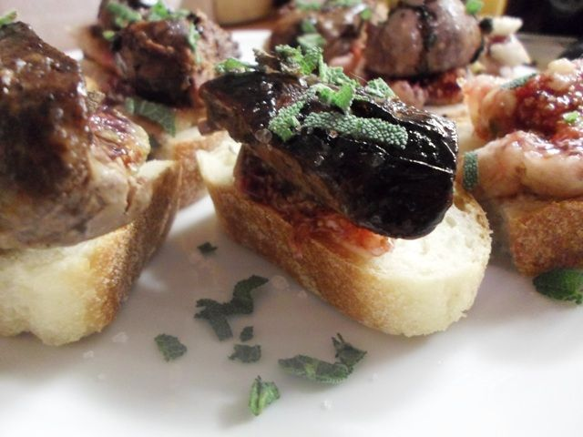 #amuse_bouche chicken liver with fresh #figs, #sage and #balsamic glaze