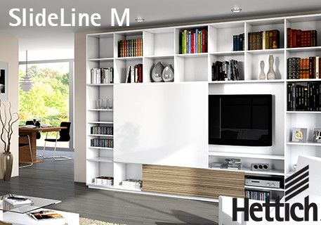 The SlideLine M Sliding Door System with optional soft-close Silent System available from Hettich New Zealand. Click on the pin for more inspiration & information!  #shelving #slidingdoors